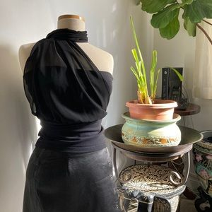 Black tube top with a sheer chiffon scarf attached